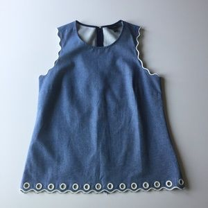 J. Crew Chambray Scalloped Edge Tank with Grommets